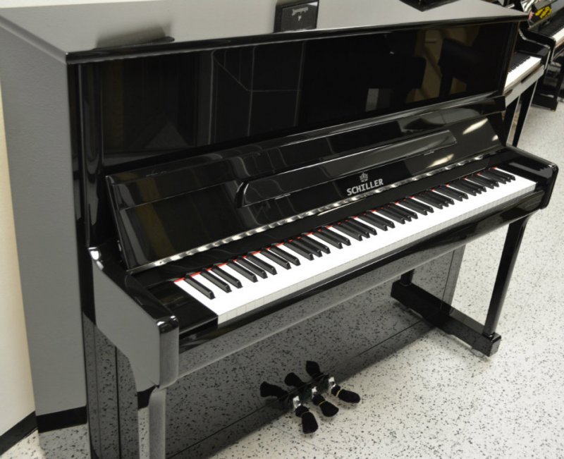 Schiller Concert Upright Piano - Ebony Polish