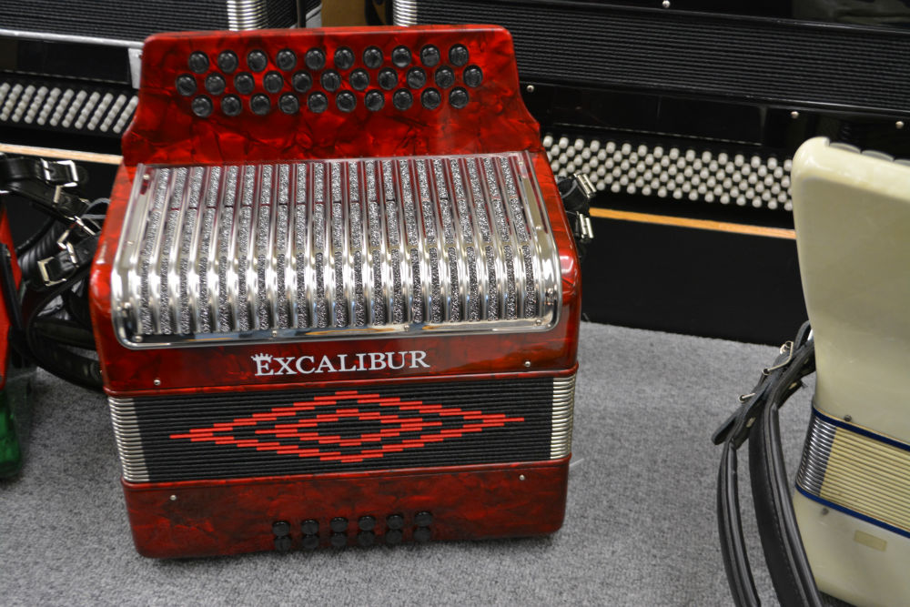 Excalibur 3 Row Button Accordion G/C/F Red