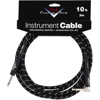 FENDER?? CUSTOM SHOP CABLE (STRAIGHT-RIGHT ANGLE) - Black Tweed - 10 ft