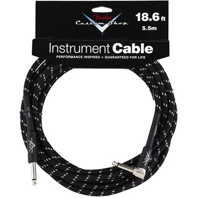 FENDER?? CUSTOM SHOP CABLE (STRAIGHT-RIGHT ANGLE) - Black Tweed - 18.6 ft