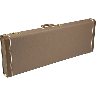 FENDER G&G DELUXE HARDSHELL CASE - BROWN WITH GOLD PLUSH INTERIOR