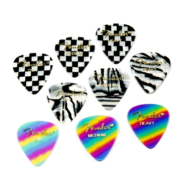 FENDER?? 351 SHAPE GRAPHIC PICKS (12 PER PACK) - Heavy - Rainbow