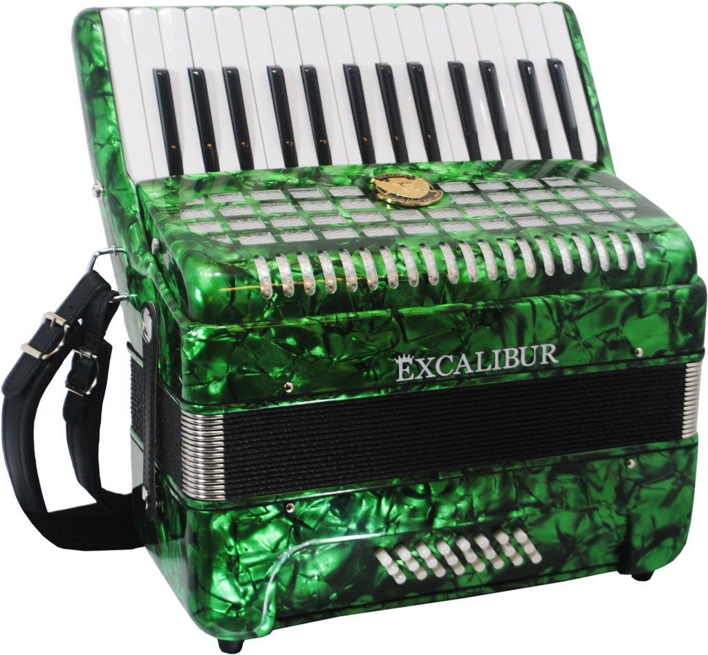 Excalibur Geneva 24 Bass Piano Accordion - Pearl Green
