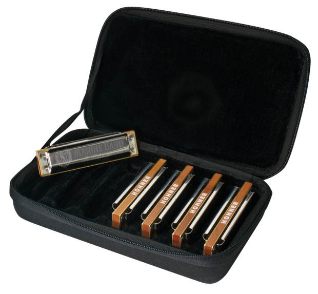Hohner Marine Band Harmonica 5 Pack Includes Case and G,C,A,D,E