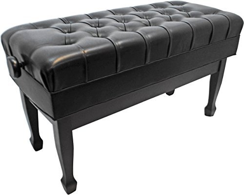 Frederick Duet Concert Artist Adjustable Piano Bench Leather - Ebony Satin