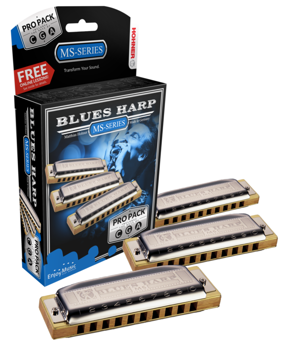 Hohner Blues Harp MS Propack Includes Key of G,C,A