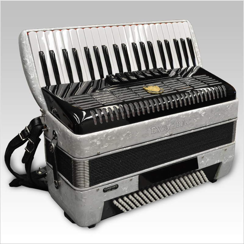 Excalibur German Weltbesten Ultralite 120 Bass Piano Accordion Pearl White