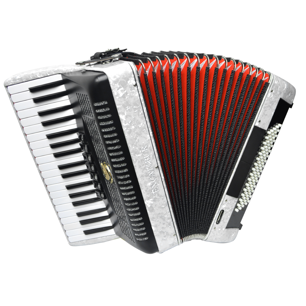 Excalibur German Weltbesten Ultralite 80 Bass Piano Accordion - White