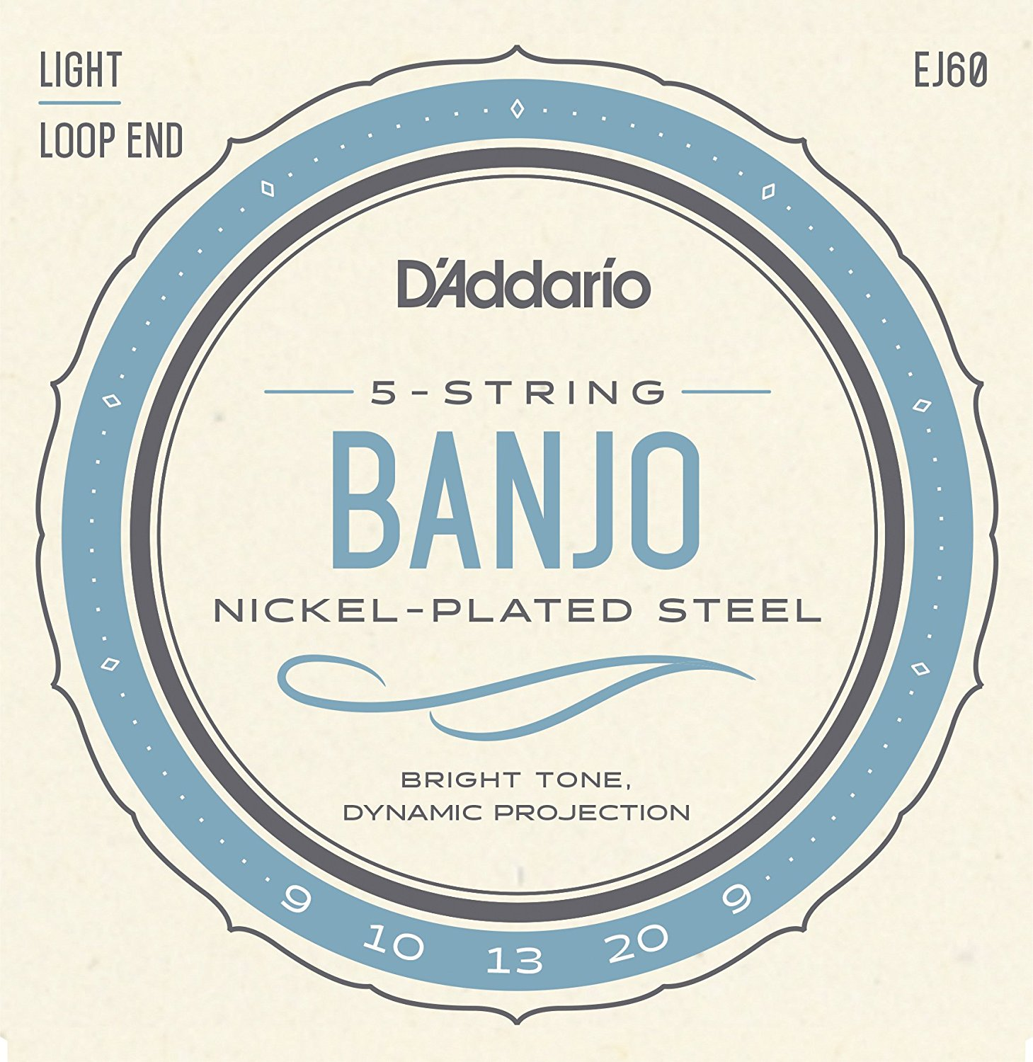 D Addario EJ60 5-String Banjo Strings, Nickel, Light, 9-20