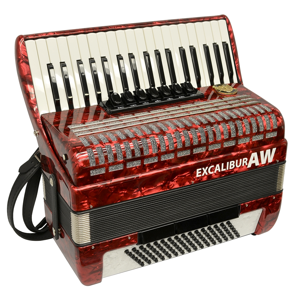 Excalibur Akordeon Werks (AW) 96 Bass Piano Accordion - Pearl Red