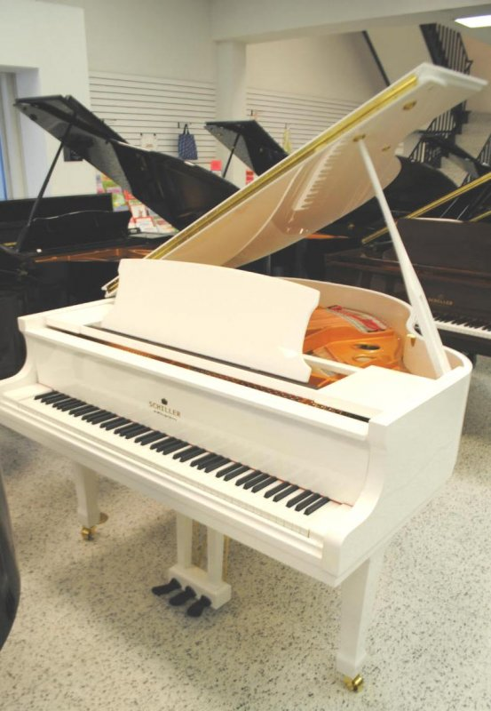 Schiller performance 5 39 0 leipzig baby grand piano white for Baby grand piano height