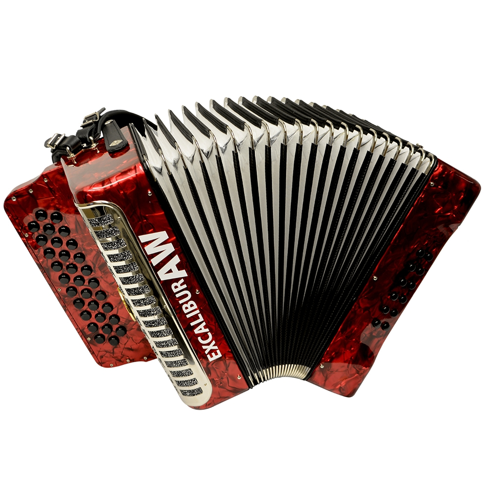 Excalibur Akordeon Werks Button Accordion - Pearl Red