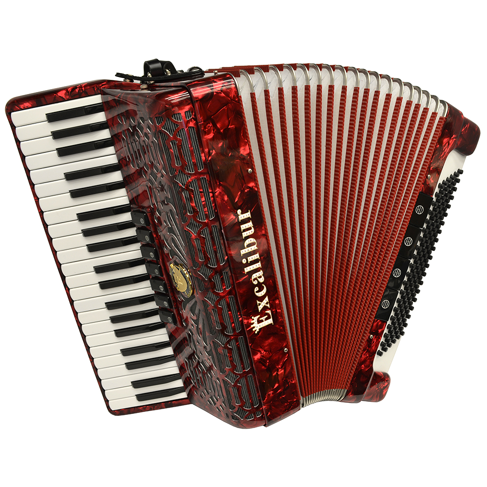 Excalibur Crown Series 120 Bass Accordion - Pearl Red