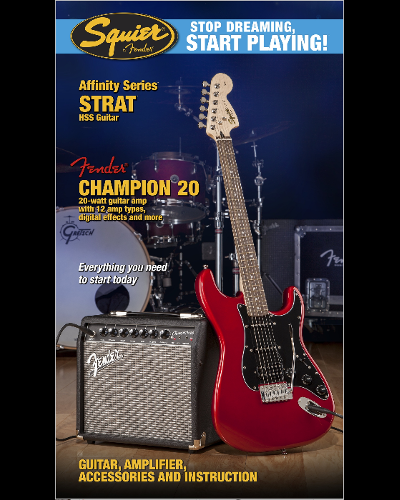Fender® Squier® Stop Dreaming, Start Playing!™ Set: Affinity Series™ Strat® HSS with Fender® Champion™ 20 Amp Candy Apple Red