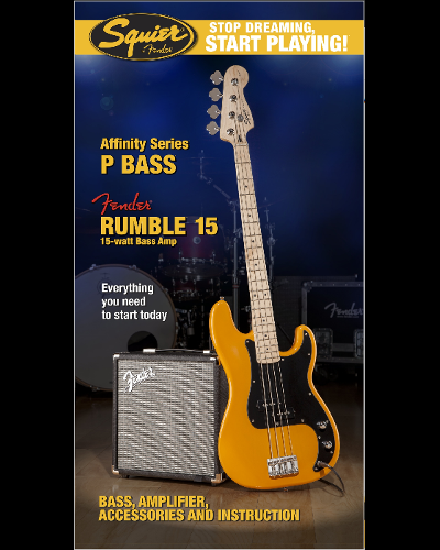 Fender® Squier® Stop Dreaming, Start Playing!™ Set: Affinity Series™ Precision Bass® with Fender® Rumble™ 15 Amp Butterscotch Blonde