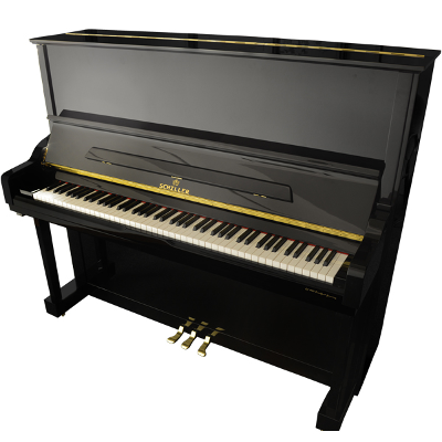 Schiller Performance Hamburg Upright Piano - Ebony Polish