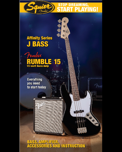 Fender® Squier® Stop Dreaming, Start Playing!™ Set: Affinity Series™ Jazz Bass® with Fender® Rumble™ 15 Amp Black