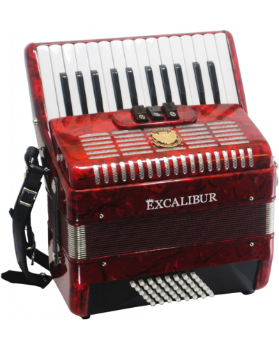 Excalibur German Weltbesten Ultralite 48 Bass Piano Accordion - Pearl Red