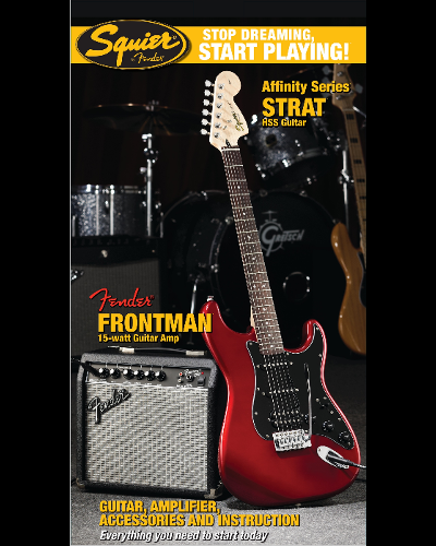 Fender® Squier® Stop Dreaming, Start Playing!™ Set: Affinity Series™ Strat® HSS with Fender Frontman® 15G Amp Candy Apple Red