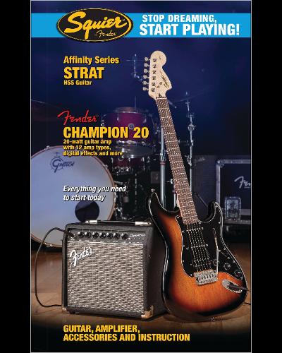 Fender® Squier® Stop Dreaming, Start Playing!™ Set: Affinity Series™ Strat® HSS with Fender® Champion™ 20 Amp Brown Sunburst