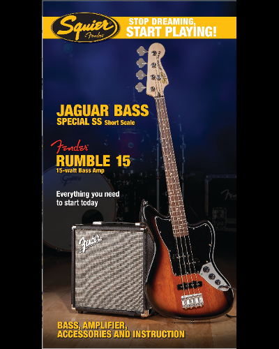 Fender® Squier® Stop Dreaming, Start Playing!™ Set: Jaguar Bass® Bass Special SS with Fender® Rumble™ 15 Amp Brown Sunburst