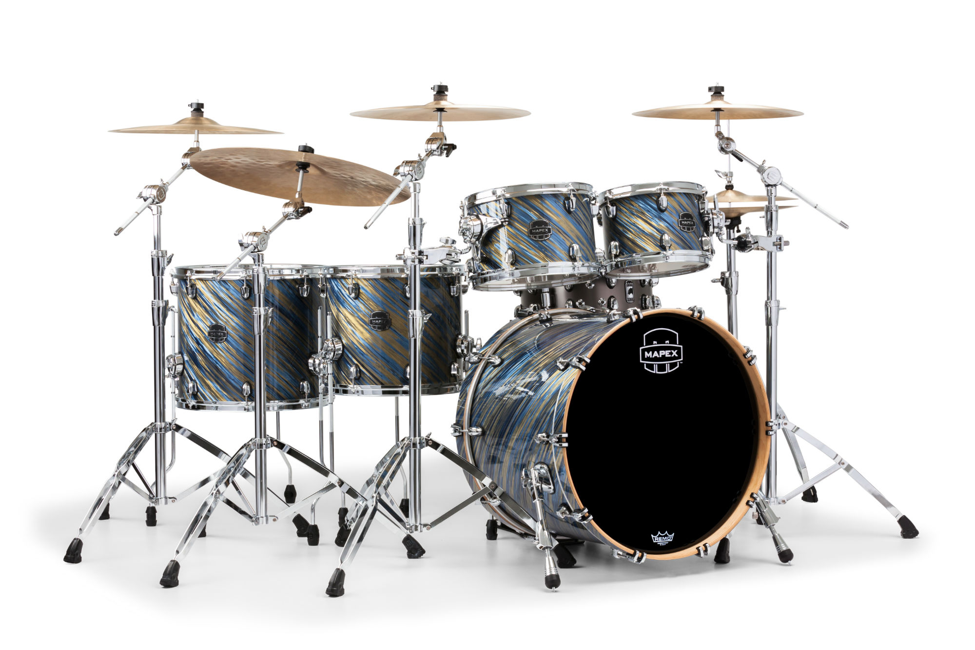 Mapex Saturn V MH Studioease 5-piece shell pack with SONIClear Edge - SV628XUMA - Marine Spiral