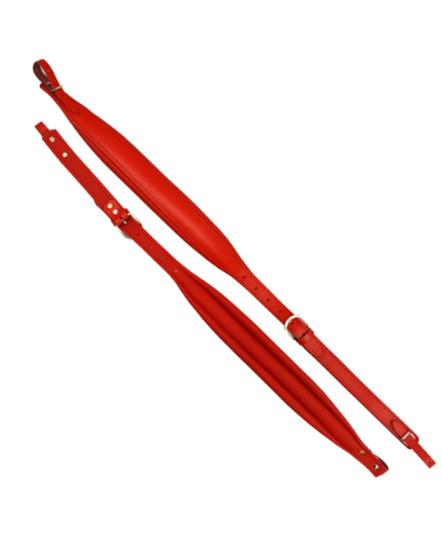 Excalibur Piano Accordion Straps - Red Leather