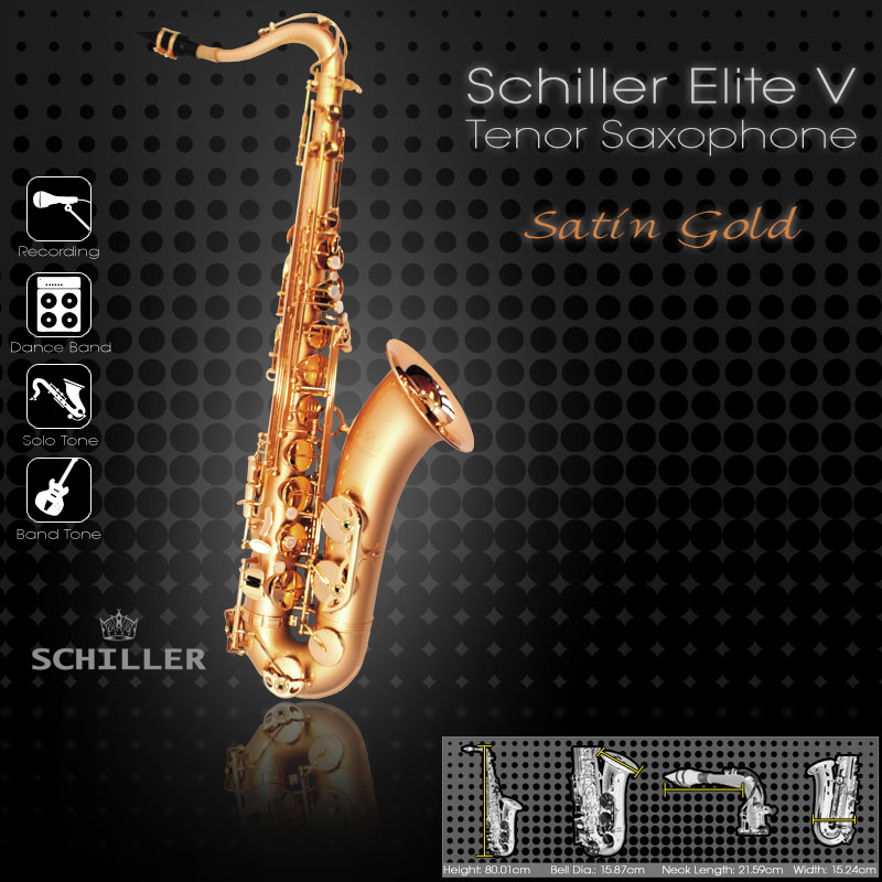 Schiller Elite V Tenor Saxophone - Satin Gold