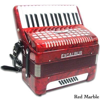 Excalibur Geneva 24 Bass Piano Accordion - Red