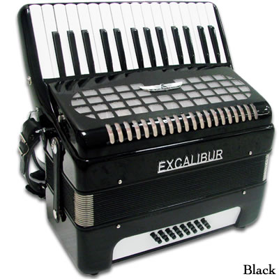 Excalibur Geneva 24 Bass Piano Accordion - Ebony Polish