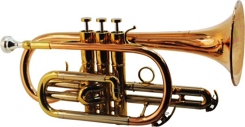 Schiller CenterTone Bb Cornet - Rose Brass with Gold Accents