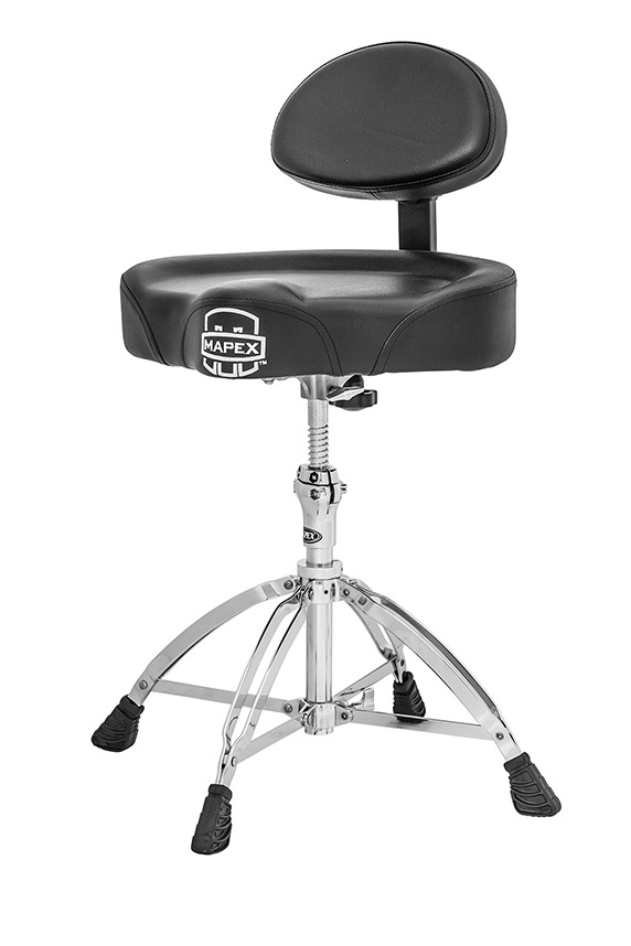 Mapex Saddle Top Drum Throne with Back Rest and 4 Double Braced Legs - T775