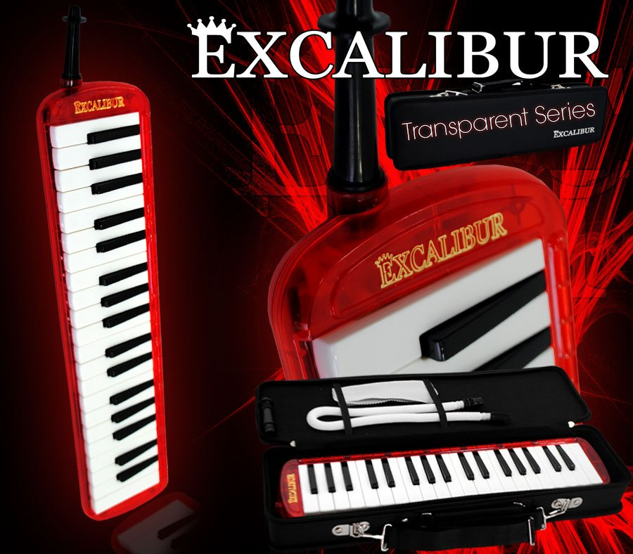 Excalibur 37 Note Melodica Burning Red Transparent
