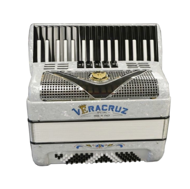 Excalibur Veracruz 80 Bass Piano Accordion - Acrtic White