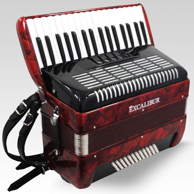Excalibur German Weltbesten Ultraliite 60 Bass Piano Accordion - Pearl Red
