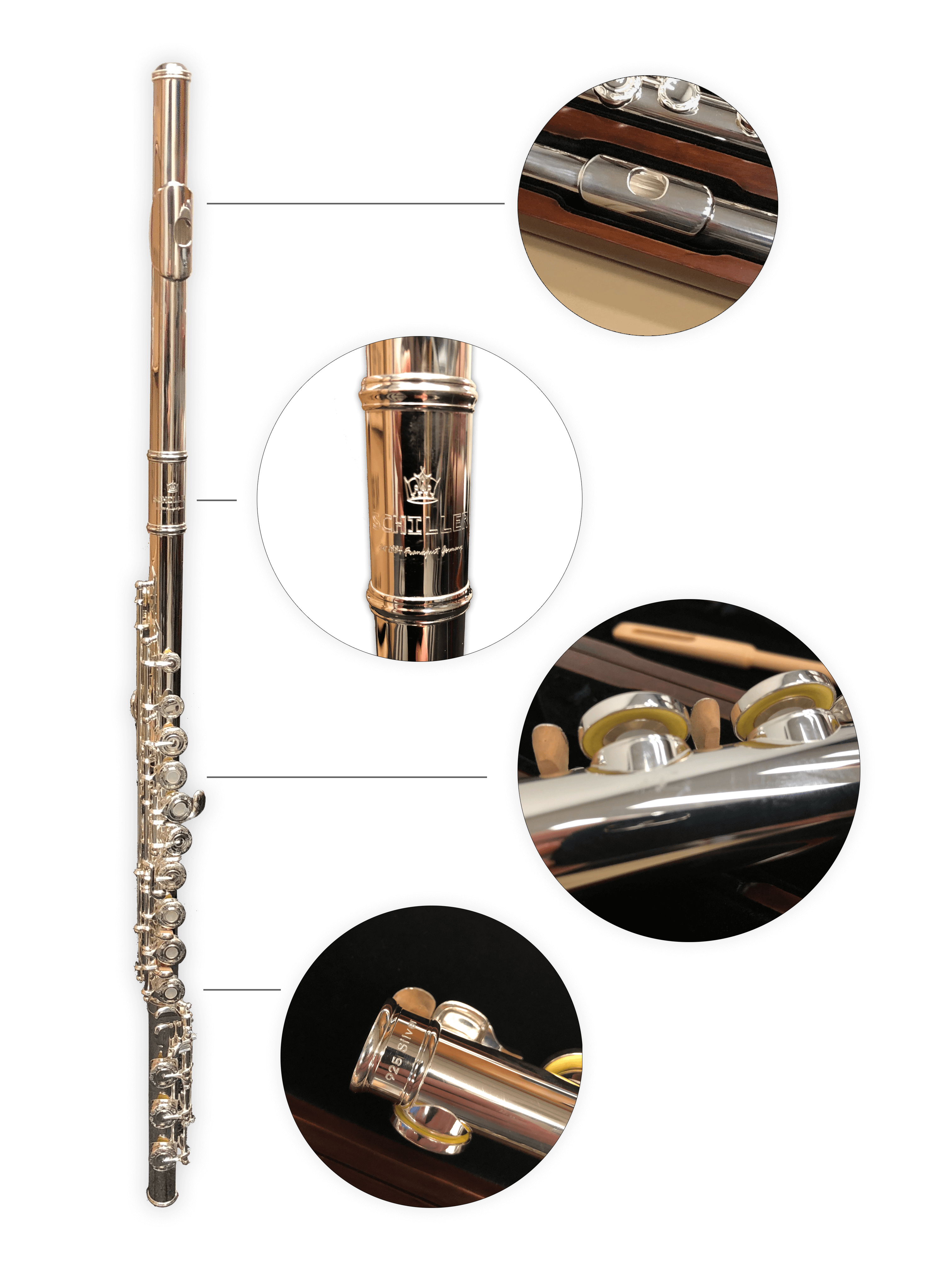 Schiller Frankfurt Elite Solid Sterling Flute with Soldiered Tone Holes
