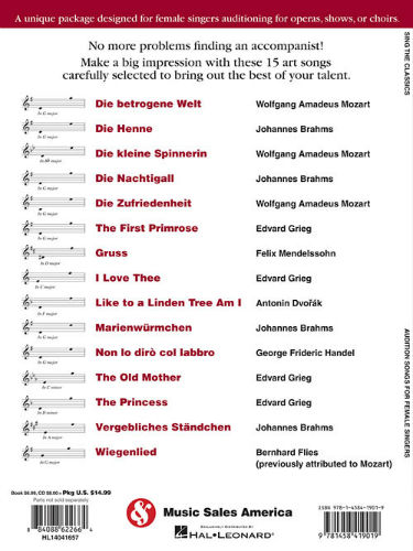 Sing the Classics - Audition Songs for Female Singers Book and CD -  Minneapolis music store, Schiller, Steinway, Kawai pianos, and more
