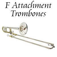 F Attachment Trombones - Minneapolis music store, Schiller, Steinway